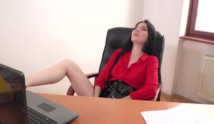 Secretary in a latex skirt gets undressed and bangs the boss
