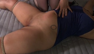 Fastened up beauty receives vicious satisfying for her love tunnel