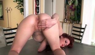 Skinny aphoristic titty redhead Elle Alexandra goes solo
