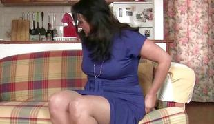Sexy mommies undresses and masturbates in solo