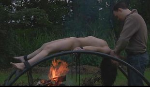 Young girl bound at sunrise then fucked at sunset