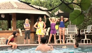 Bikini femdom babes taunt losers